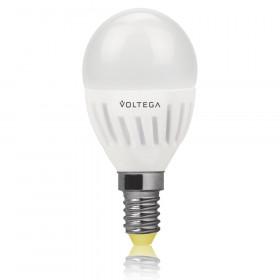 Светодиодная лампа шар Voltega 220V E14 6.5W (соответствует 60 Вт) 600Lm 2800K (теплый белый) 5721