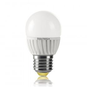 Светодиодная лампа шар Voltega 220V E27 6.5W (соответствует 60 Вт) 600Lm 2800K (теплый белый) 5723