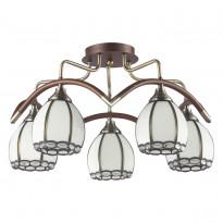 Светильник потолочный N-Light 607-05-53 Antique Brass + Walnut  + Tiffany