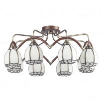 Светильник потолочный N-Light 607-08-53 Antique Brass + Walnut  + Tiffany