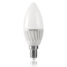Светодиодная лампа свеча Voltega 220V E14 6.5W (соответствует 60 Вт) 620Lm 4000K (белый) 5716