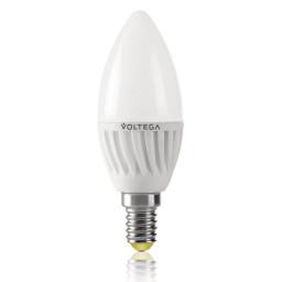 Светодиодная лампа свеча Voltega 220V E14 6.5W (соответствует 60 Вт) 600Lm 2800K (теплый белый) 5715