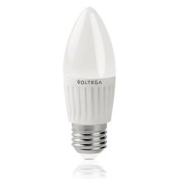 Светодиодная лампа свеча Voltega 220V E27 6.5W (соответствует 60 Вт) 620Lm 4000K (белый) 5718