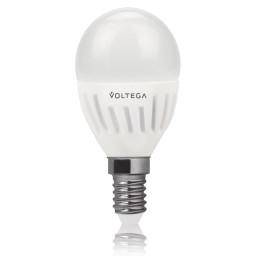 Светодиодная лампа шар Voltega 220V E14 6.5W (соответствует 60 Вт) 620Lm 4000K (белый) 5722
