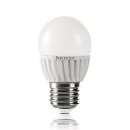 Светодиодная лампа шар Voltega 220V E27 6.5W (соответствует 60 Вт) 620Lm 4000K (белый) 5724