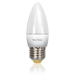 Светодиодная лампа свеча Voltega 220V E27 5.7W (соответствует 60 Вт) 470Lm 2800K (теплый белый) 5729