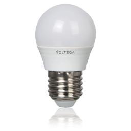 Светодиодная лампа шар Voltega 220V E27 5.4W (соответствует 60 Вт) 470Lm 4000K (белый) 5750
